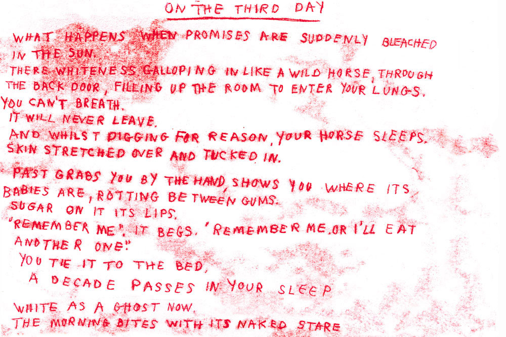 Melissa Spiccia   RED MONOTYPE POEM PART A ON THE THIRD DAY MELISSA SPICCIA