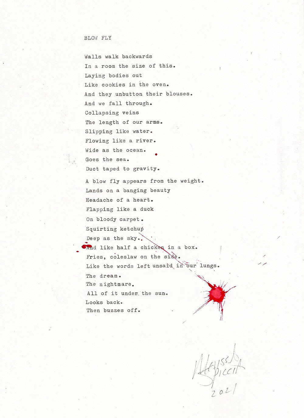 Melissa Spiccia | SEE FLOWERS IN HELL BLOW FLY POEM MELISSA SPICCIA